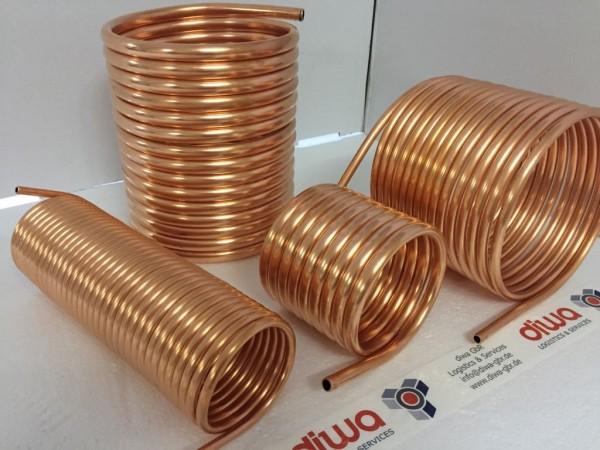 Spirale aus Kupferrohr 10x1mm aus 5m mit einem Innendurchmesser von ca. 80mm (Kupferrohrspirale)