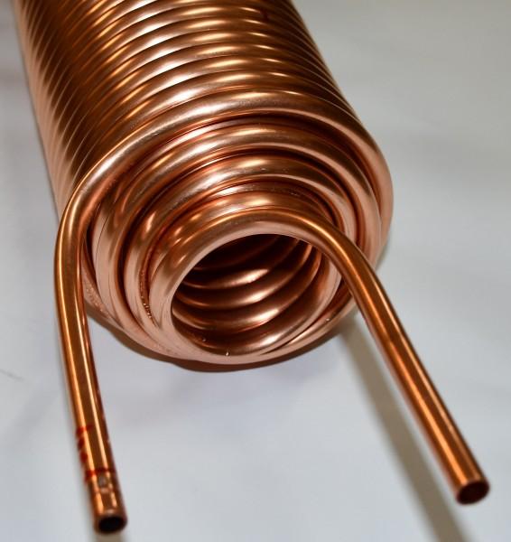 4-fach Spirale Wärmetauscher Kupferrohr 10x1mm aus 40m mit Außen-Ø ca.130mm