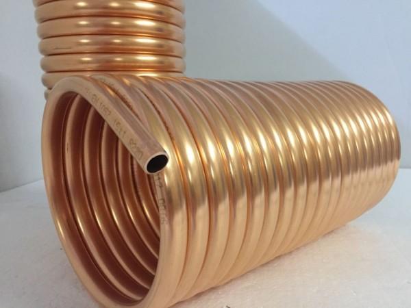 Spirale aus Kupferrohr 12x1mm für OFENROHR 150mm aus 10m mit Innen-Ø ca.154mm