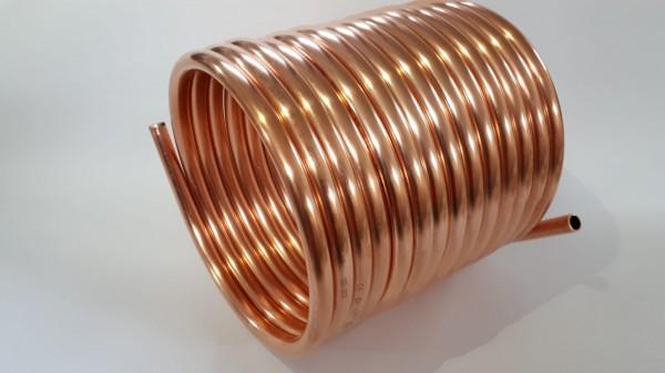 Spirale aus Kupferrohr 18x1mm für OFENROHR 200mm aus 10m mit Innen-Ø ca.207m