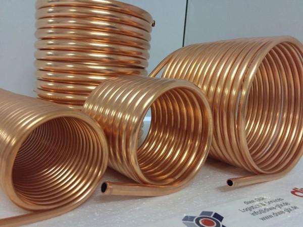 Spirale aus Kupferrohr 15x1mm aus 10m mit Außen-Ø ca. 26cm (Kupferrohrspirale)